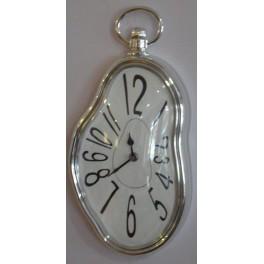 Reloj de Pared Derretido Marco Plateado