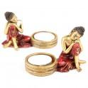 Porta velas Thai Buda Rojo y Dorado